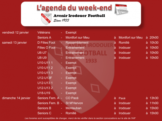180114 agenda weekend