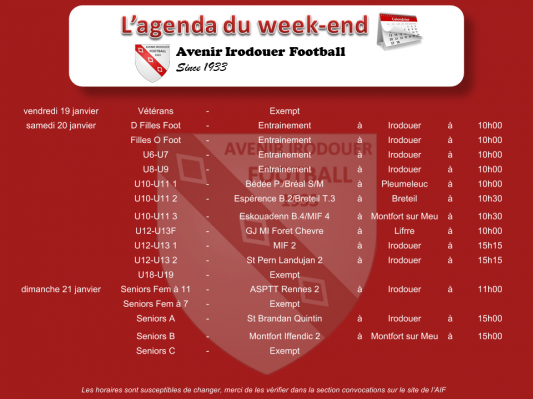 180121 agenda weekend