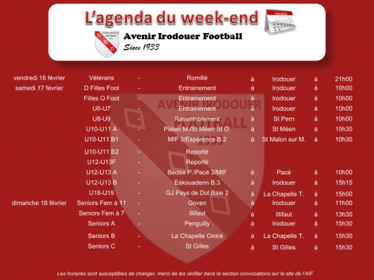 180218 agenda weekend