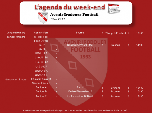 180311 agenda weekend