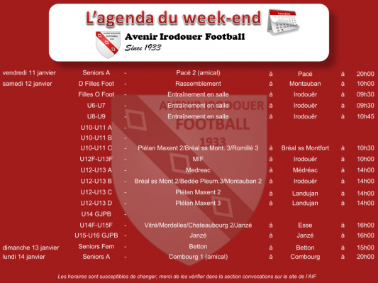 190113 agenda weekend