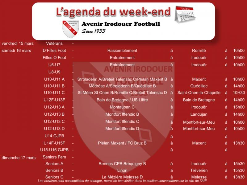190316 agenda weekend