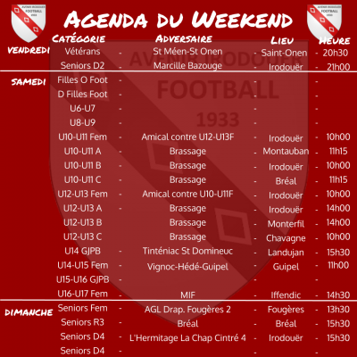 190922 agenda weekend