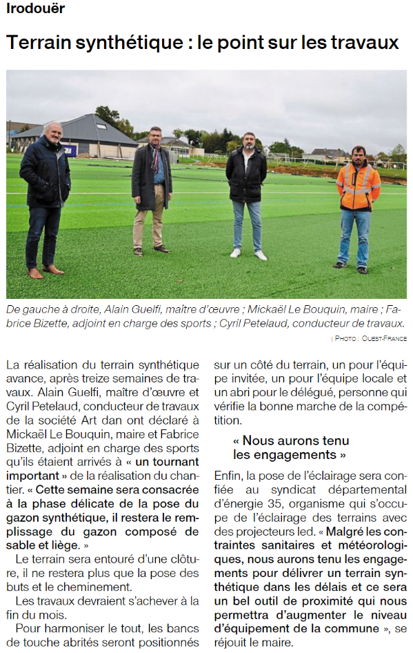 Article de presse ouest france 20201012