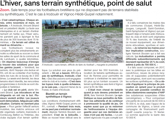Article ouest france 07 02 2019 l hiver sans terrain synthetique