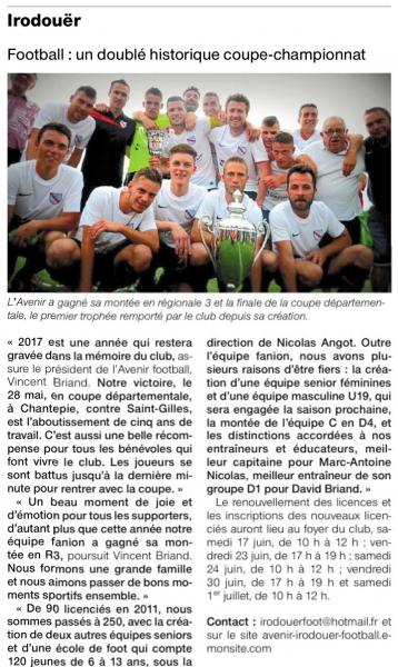 Article ouest france 13 06 2017