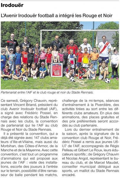 Article ouest france mardi 20 juin partenariat stade rennais